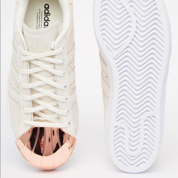 adidas Shoes - Adidas Rose Gold metal toe cap superstars 007eee5f553